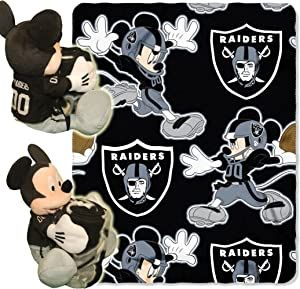 """Officially Licensed NFL Co Mickey Mouse Hugger and Fleece Throw Blanket Set, Multi Color, 40"""" x 50"""""""