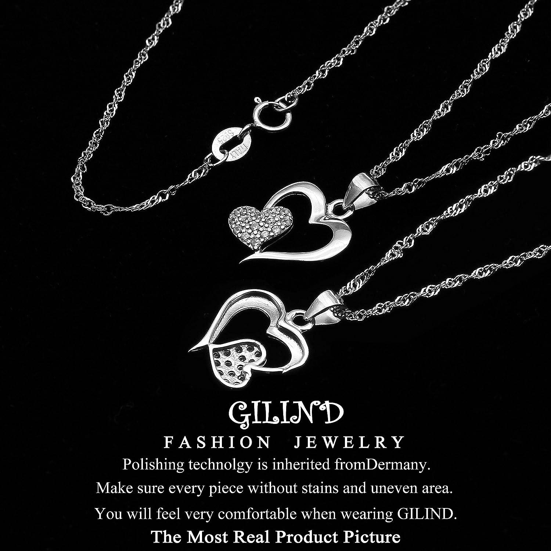 Gilind Parure collier et boucles doreilles Pour femme Pendentif en forme de c/œur Argent 925 Coffret cadeau