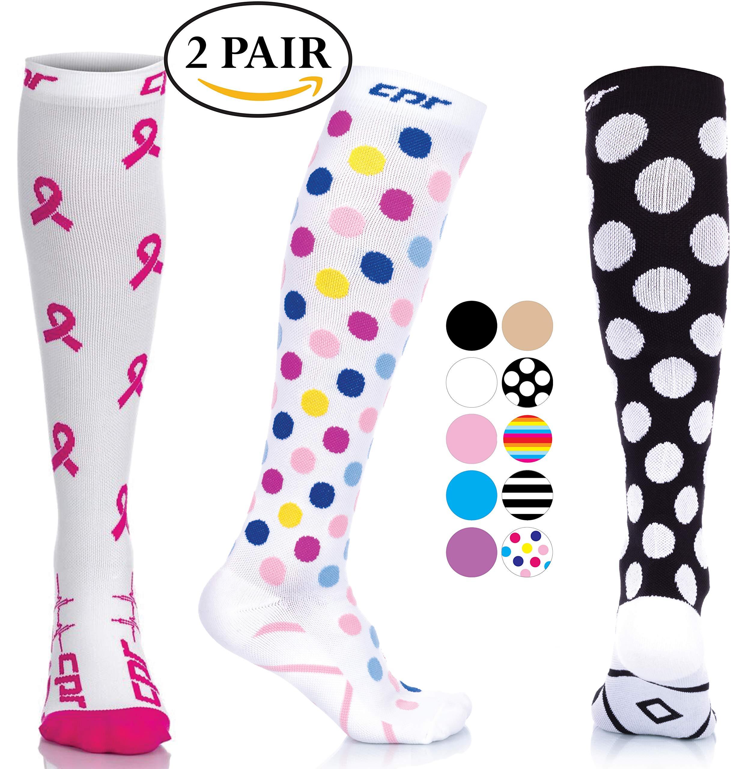 CPR Compression Socks for Women Men Nurses Compression Stockings for Woman Graduated Compression Sock 20 30 mmHg Knee High Nursing Travel Comfortable