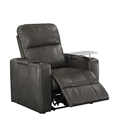 Pulaski Power Home Theatre Recliner, USB Port, Tray, Blanche CHARCOAL