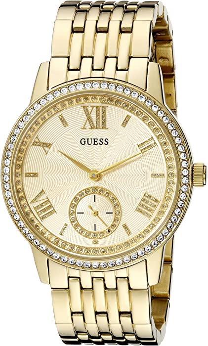 GUESS Womens U0573L2 Classic Gold-Tone Watch with Genuine Crystals