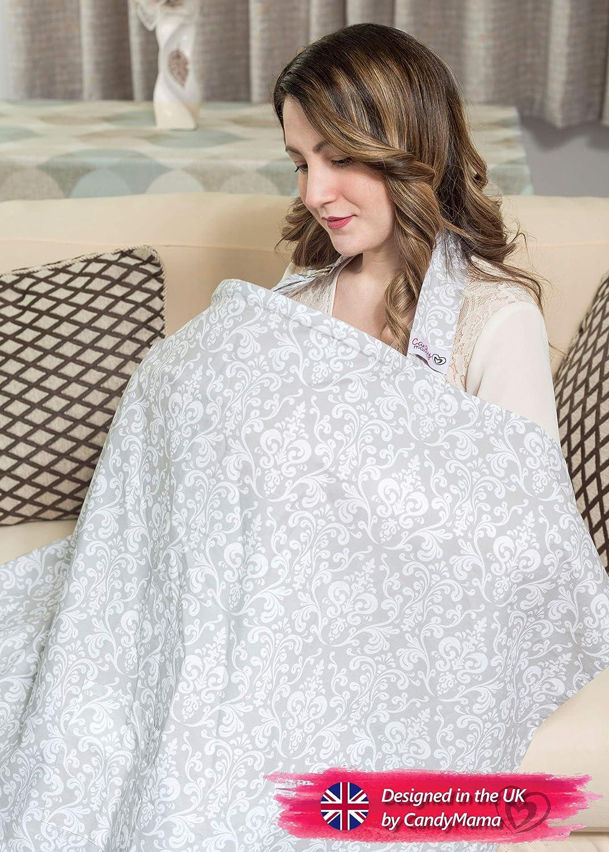 100/% coton allaitement Coque baleines /él/égant et discret /gris \ Blanc Damas Couverture dallaitement avec sac de rangement/ respirant et l/éger