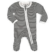 100% GOTS Organic Cotton Baby Boy Girl Sleep 'N Play Footed Long Sleeve Onsie, Unisex, Pajama Sleeper (3-6M, Black Stripe)