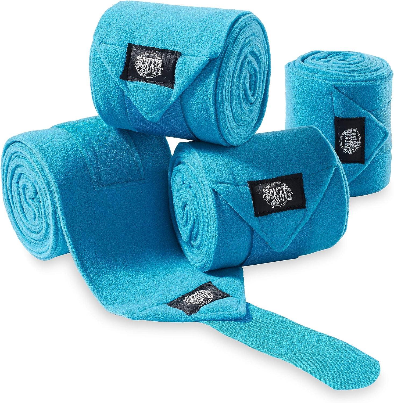 SmithBuilt Equine Fleece Polo Wraps, Turquoise - (Set of 4) Horse Leg Bandages : Pet Supplies