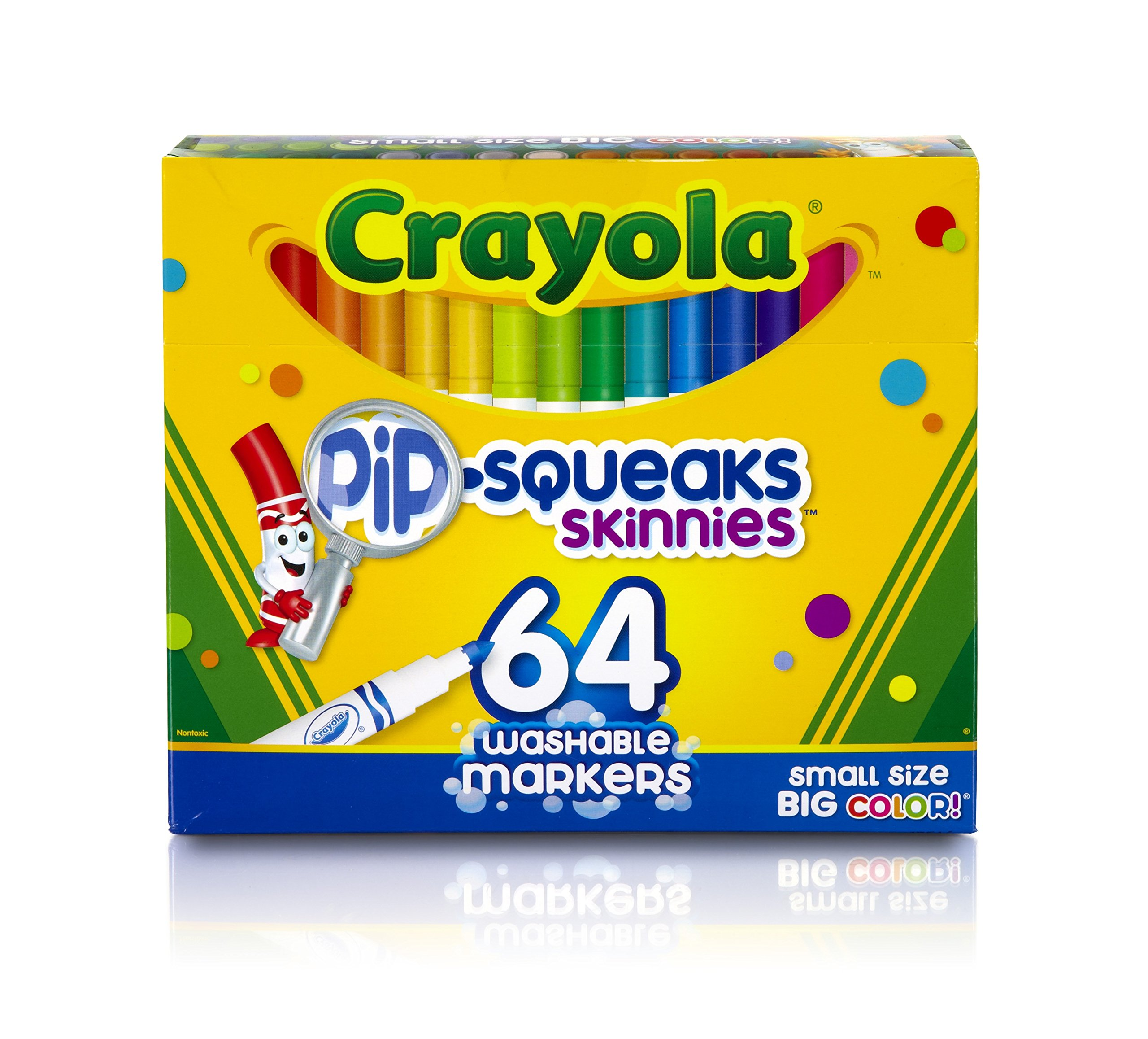Crayola Pip-Squeaks Skinnies Washable Markers, 64 count, Great for Home or School, Perfect Art Tools by Crayola