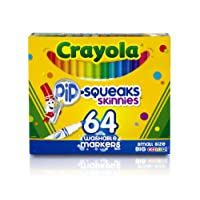 Crayola Skinnies Markers, 64 Washable Colours, Art & Craft, Colouring, Ages 3, 4, 5, 6
