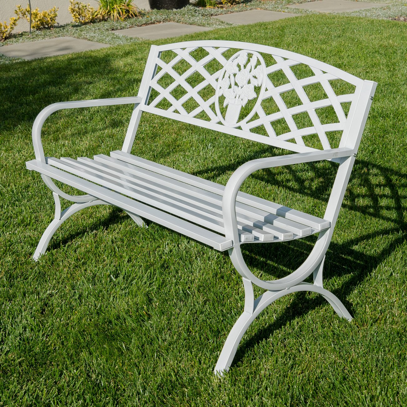 Belleze 50'' inch Outdoor Park Bench Garden Backyard Furniture Chair Porch Seat Steel Frame, White by Belleze (Image #3)