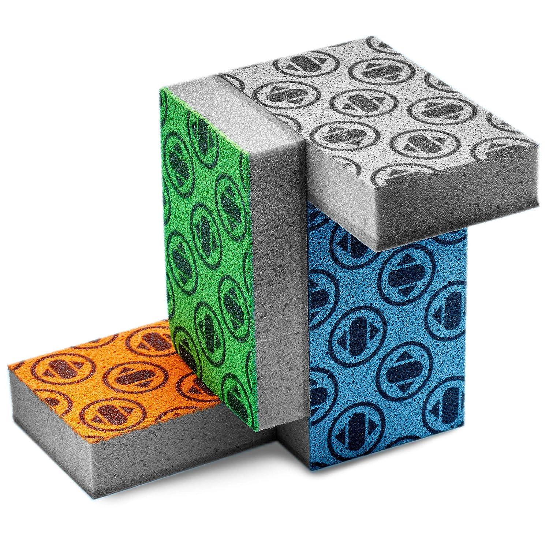 Antimicrobial Sponge Set of 4, Non-Abrasive Scouring Pad w/ Fading Monogram, Antibacterial Sponge Replacement Tech. Modern Kitchen Sponges w/ Smell Resistant & Bacteria Resistant Polyurethane Foam