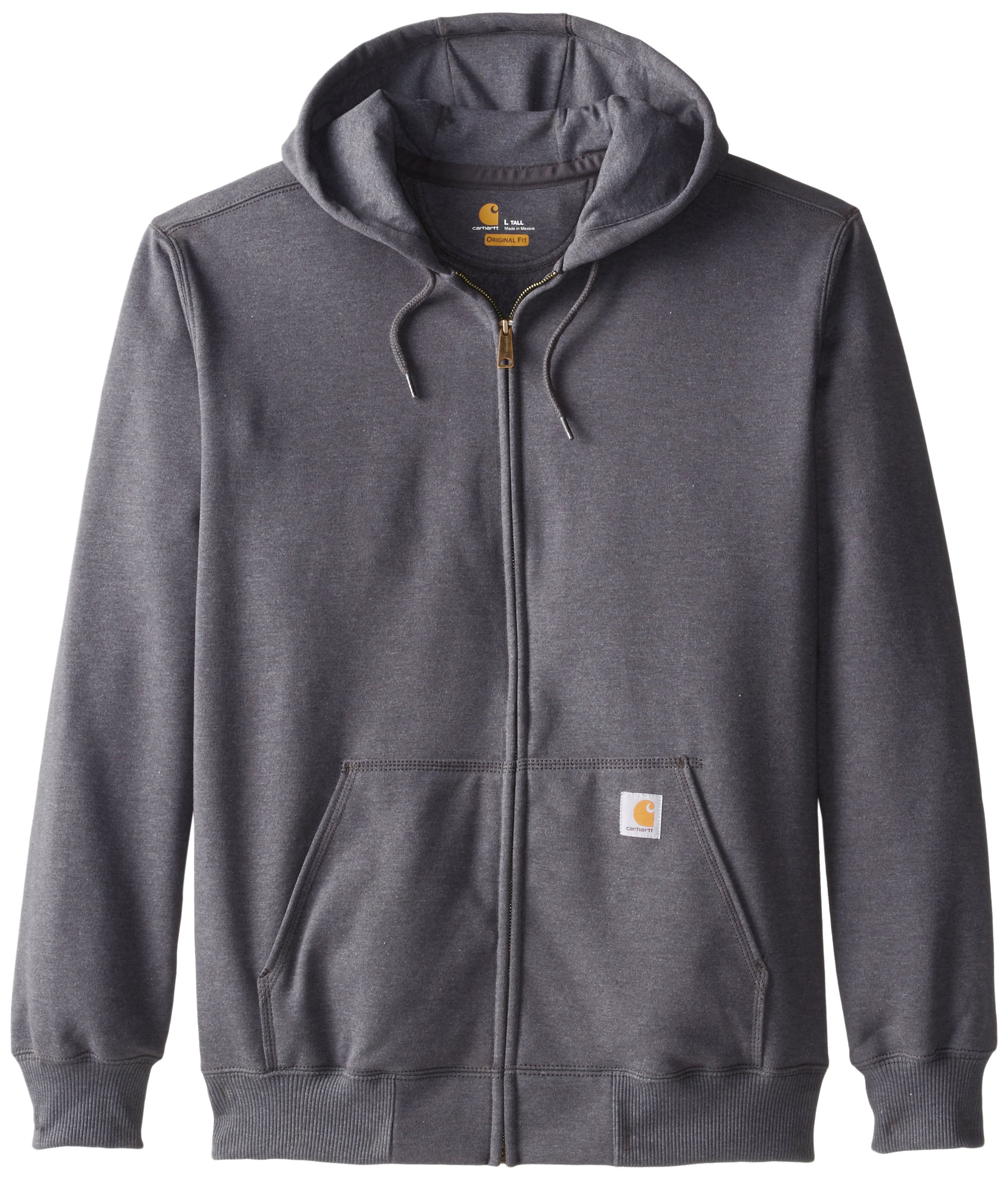 Carhartt Men's Big & Tall Rain Defender Paxton Heavyweight Hooded Zip Front Sweatshirt,Carbon Heather,Large Tall