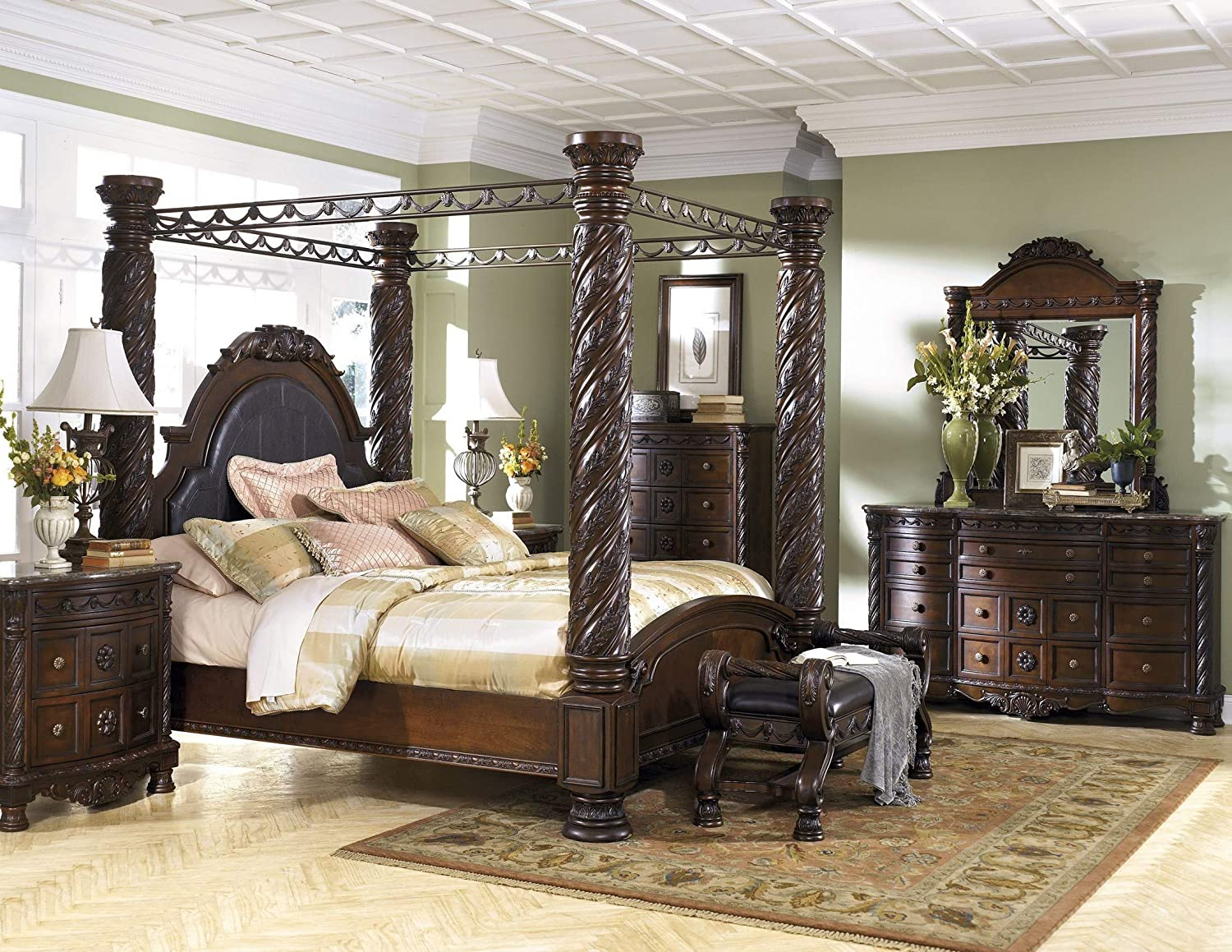 Amazon Com Ashley Furniture North Shore 6 Piece Canopy Bedroom