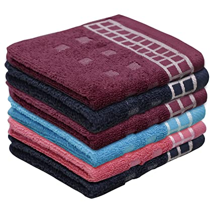 Urban Hues Rich Cotton 6 Pcs 500 GSM Rectangular 12x12 inch Face Towel Set (Multi)(Assorted)