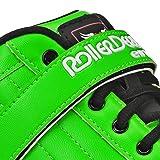 Roller Derby Stomp Factor 5 Black Quad Skates Color Green Size 7
