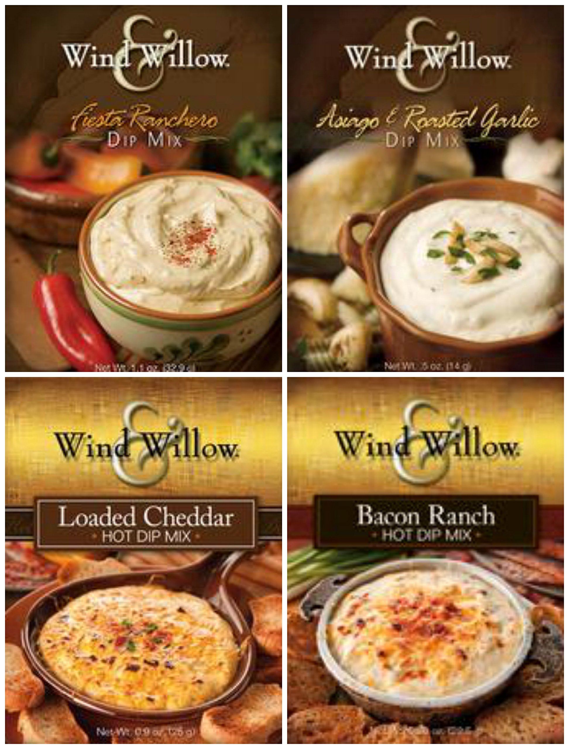 Wind & Willow Dip Mix 4 Flavor Variety Bundle: Loaded Cheddar, Bacon Ranch, Asagio & Roasted Garlic and Fiesta Ranchero (4 Packs Total) by Wind & Willow