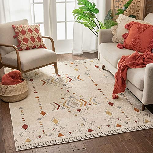 Well Woven Halley Beige Multicolor Tribal Diamond Pattern Area Rug 8×10 7'10″ x 10'6″