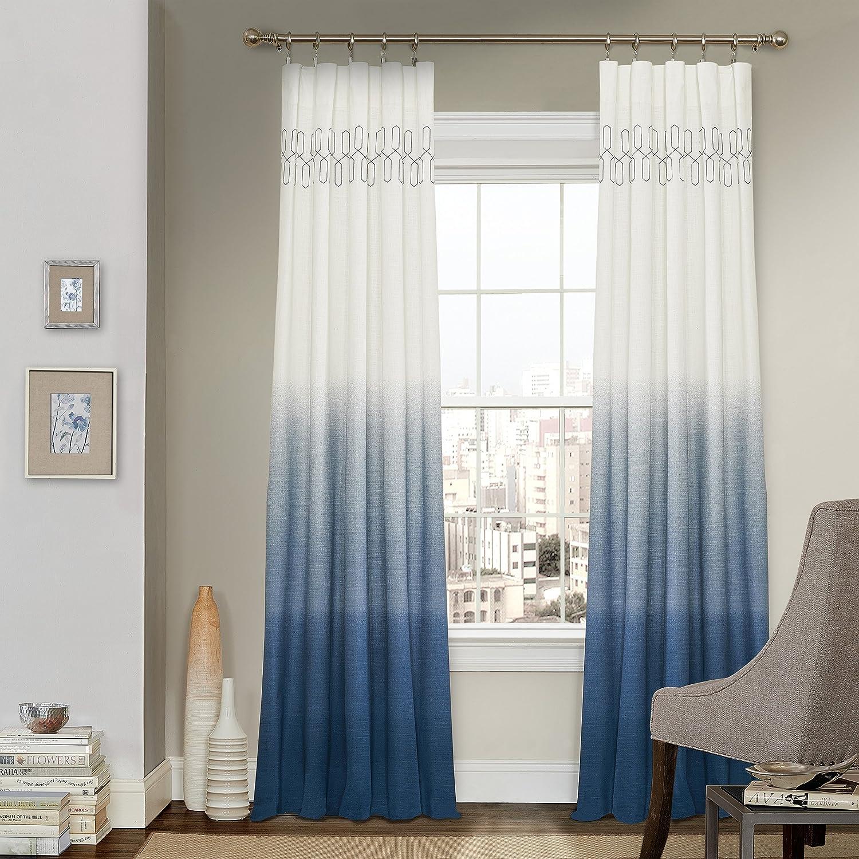 "VUE SIGNATURE Arashi 52"" x 84"" Rod Pocket Single Panel Privacy Window Treatment Living Room, Indigo"