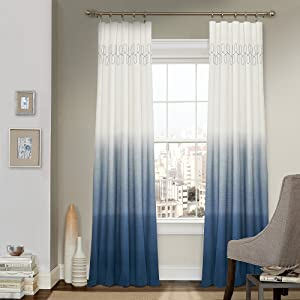 "VUE SIGNATURE Arashi 52"" x 84"" Rod Pocket Single Panel Privacy Window Treatment Living Room, Indigo"