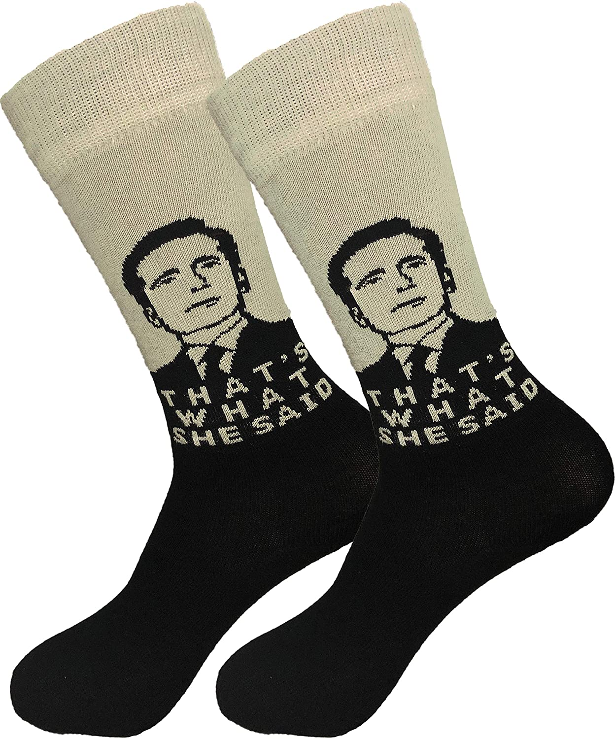 Balanced Co. That's What She Said Dress Socks Michael Scott Funny Socks Crazy Socks Casual Cotton Crew Socks