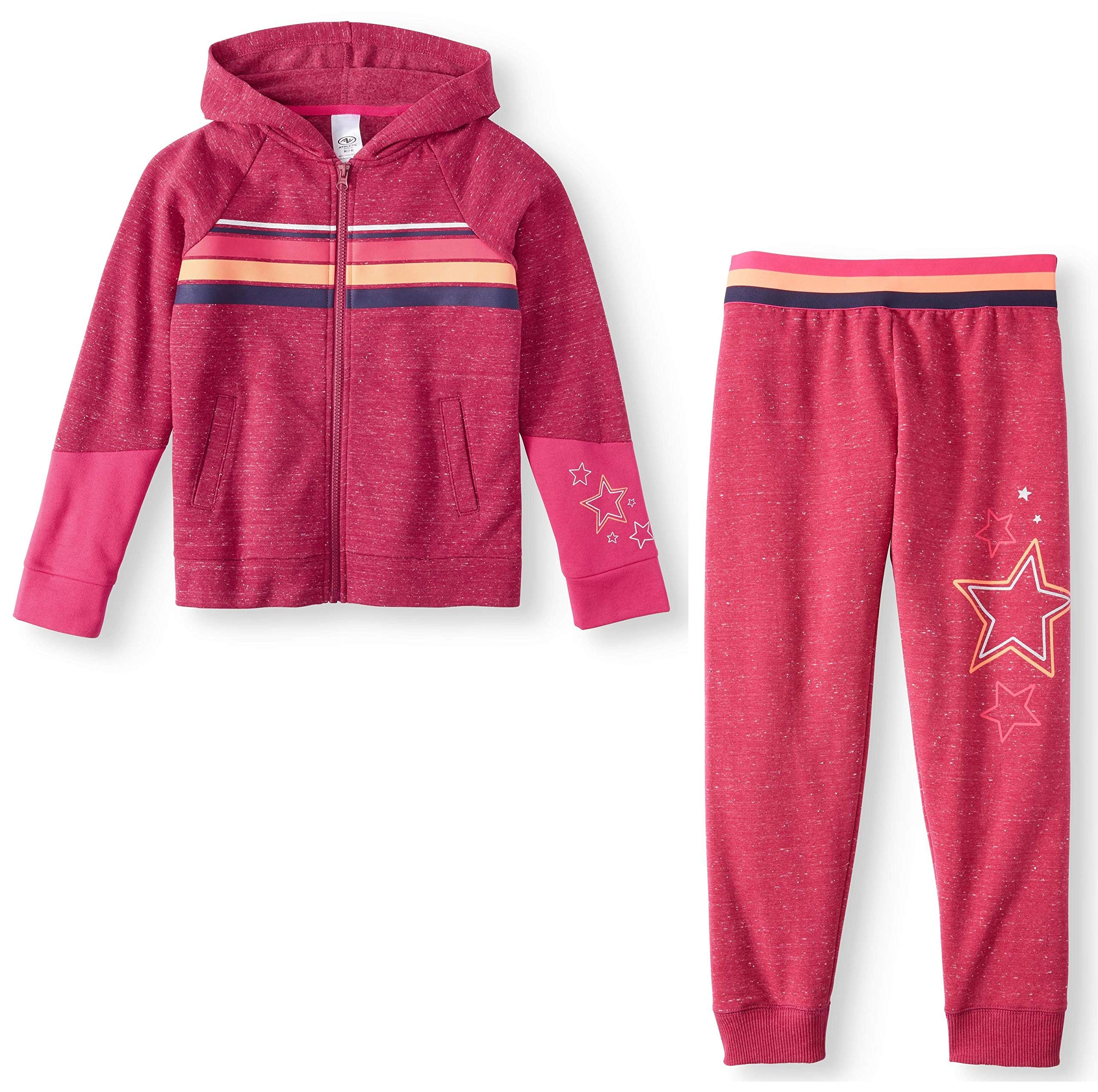 Athletic Works Girls' Color Block Graphic Fleece Hoodie/Joggers Sweatsuit (Rose Sangria, X-Large XL, 14/16) by Athletic Works