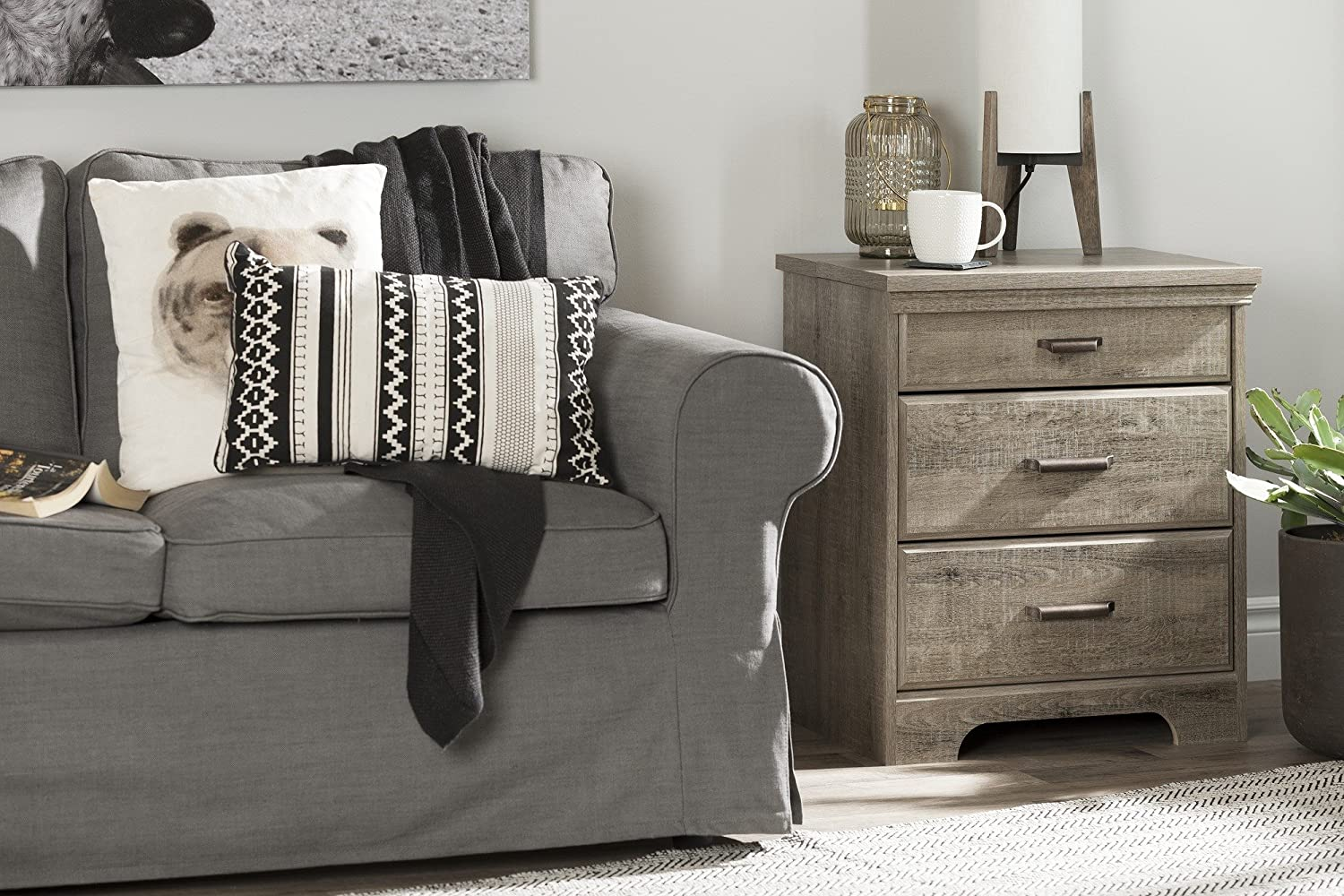 South Shore Versa Nightstand with 2 Drawers and Charging Station Gray Maple