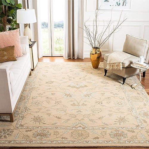 Safavieh Wyndham Collection WYD205A Handmade Light Gold Wool Area Rug, 8 feet 9 inches by 12 feet 8 9 x 12