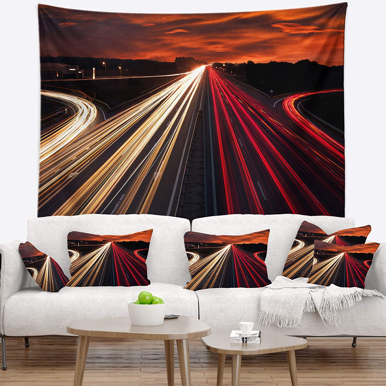 39 in Designart TAP8268-39-32  Speed Traffic Trails Cityscape Digital Blanket D/écor Art for Home and Office Wall Tapestry Medium in x 32 in