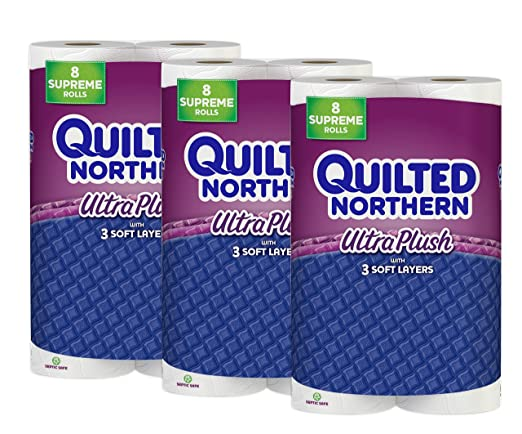 Quilted Northern Ultra Plush Toilet Paper, 24 Supreme (92+ Regular) Bath Tissue Rolls