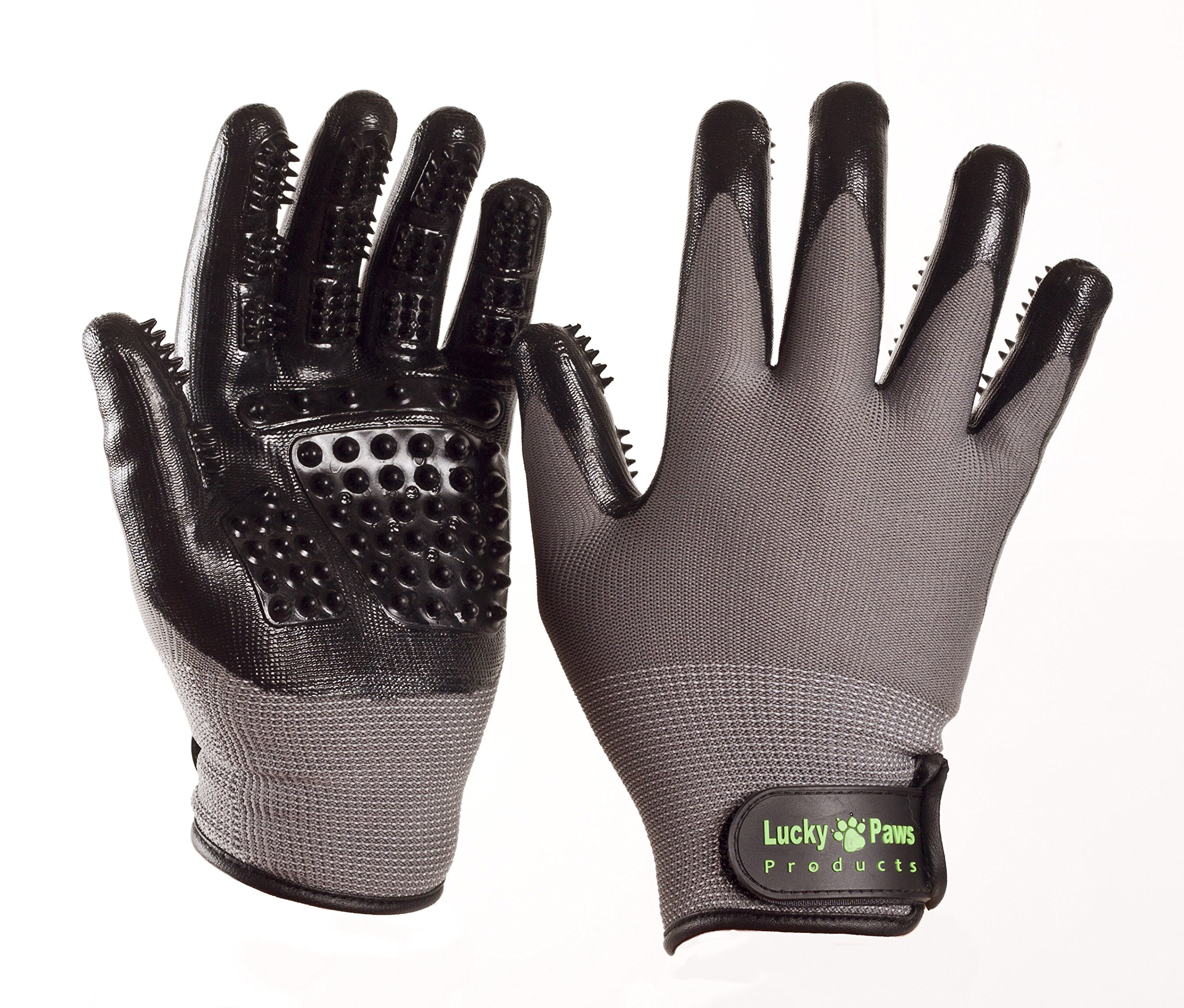 Lucky Paws Products Premium Pet Grooming Gloves – Gentle Deshedding Brush Glove - Use As A Pet Hair Remover for Shedding, Bathing & Grooming - Perfect for Cats, Dogs, Horses Or Other Pets.