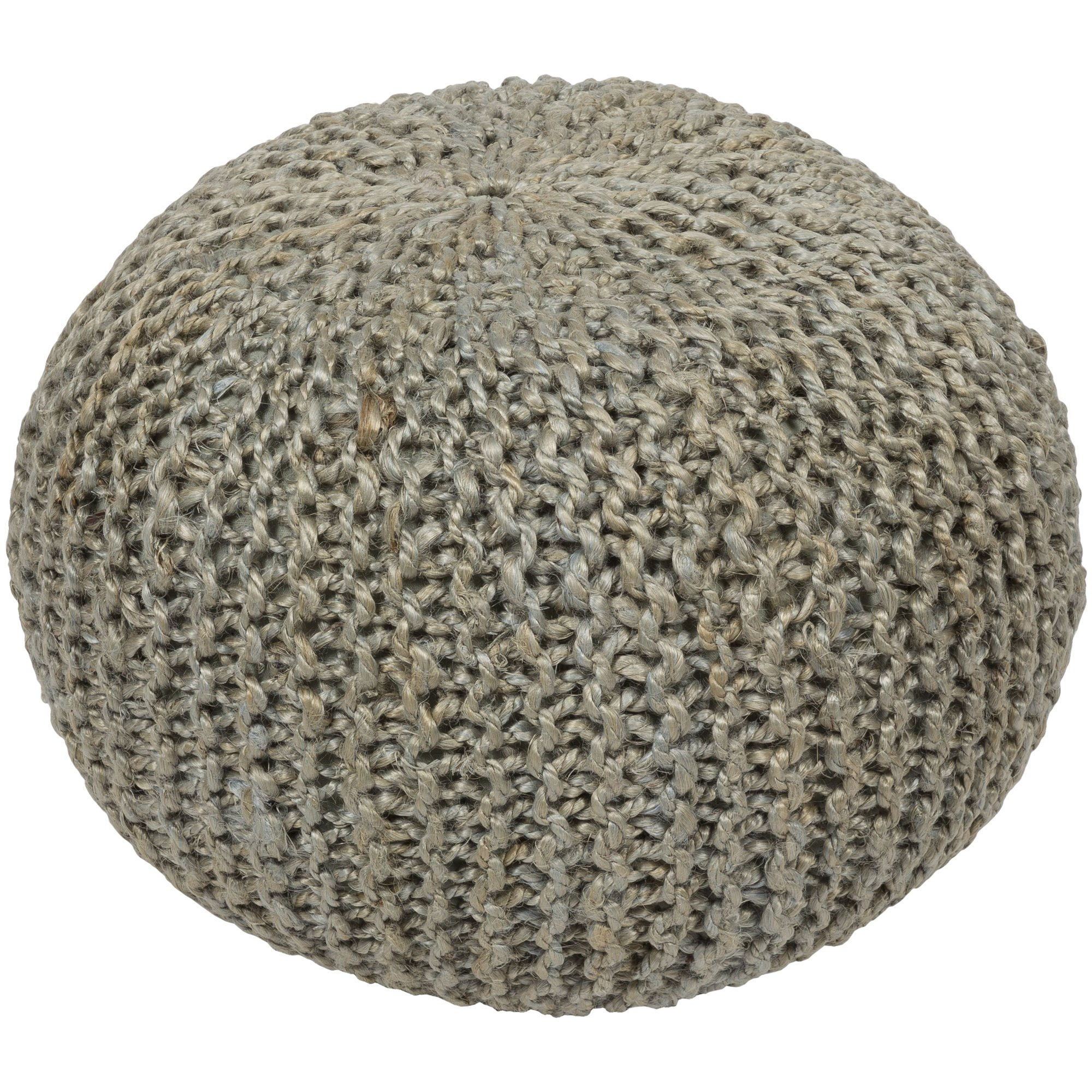 Surya BRPF-003 100-Percent Jute Pouf, 20-Inch by 20-Inch by 14-Inch, Light Gray