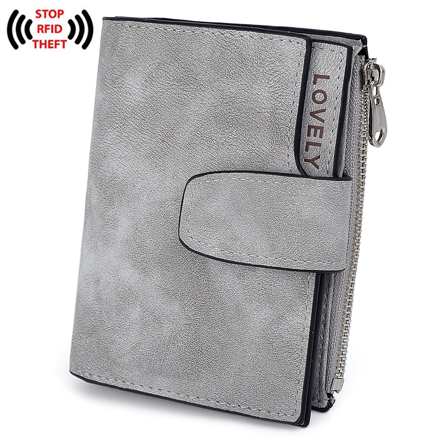 UTO RFID Wallet for Women PU Matte Leather Blocking Tech Wallet Card Holder Organizer Girls Small Cute Coin Purse with Snap Closure C Grey