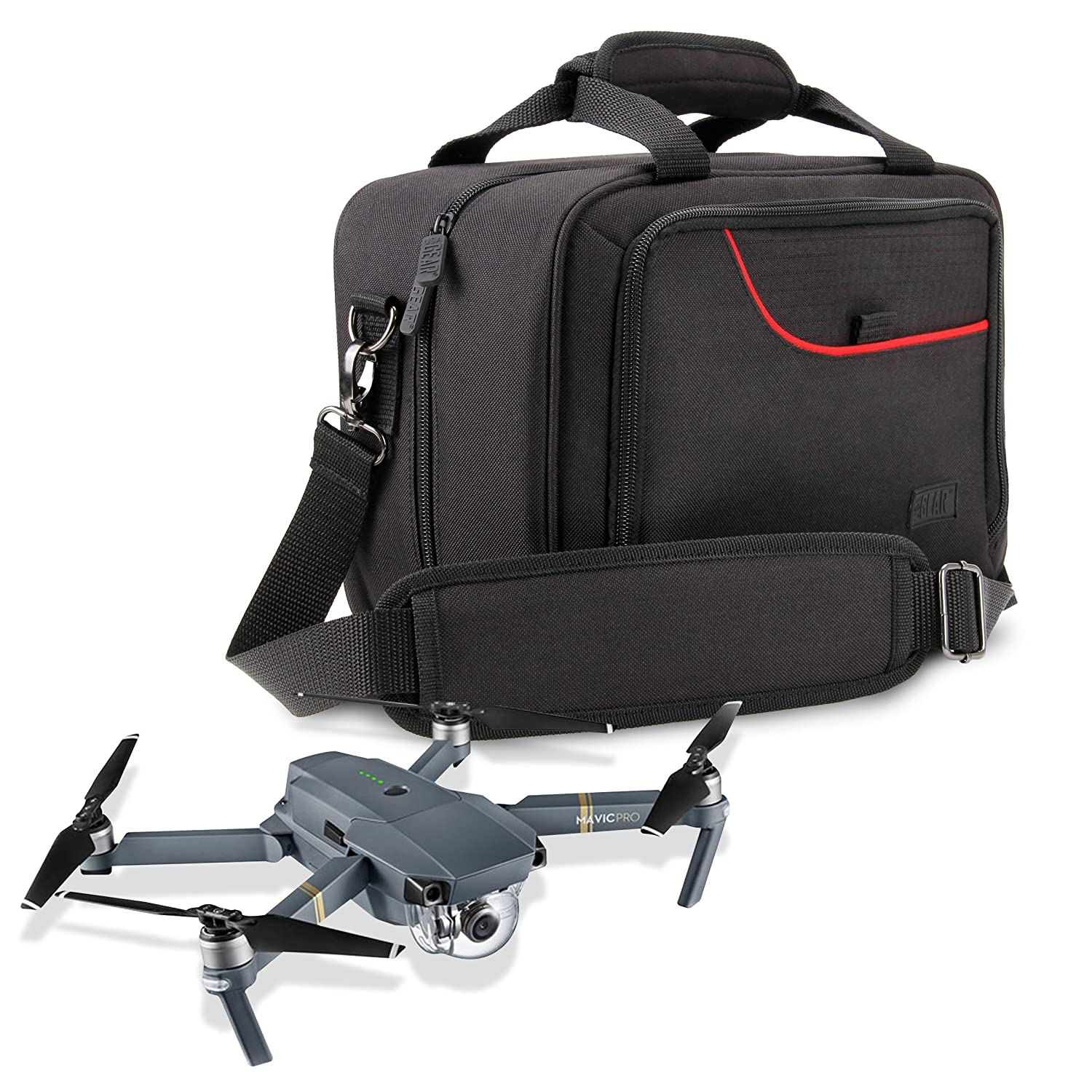 USA Gear Drone Carrying Case DJI Mavic Pro Spark Mini Mavic Air Strap Adjustable Dividers Storage Pockets Fits Drone Controller Batteries Propellers More