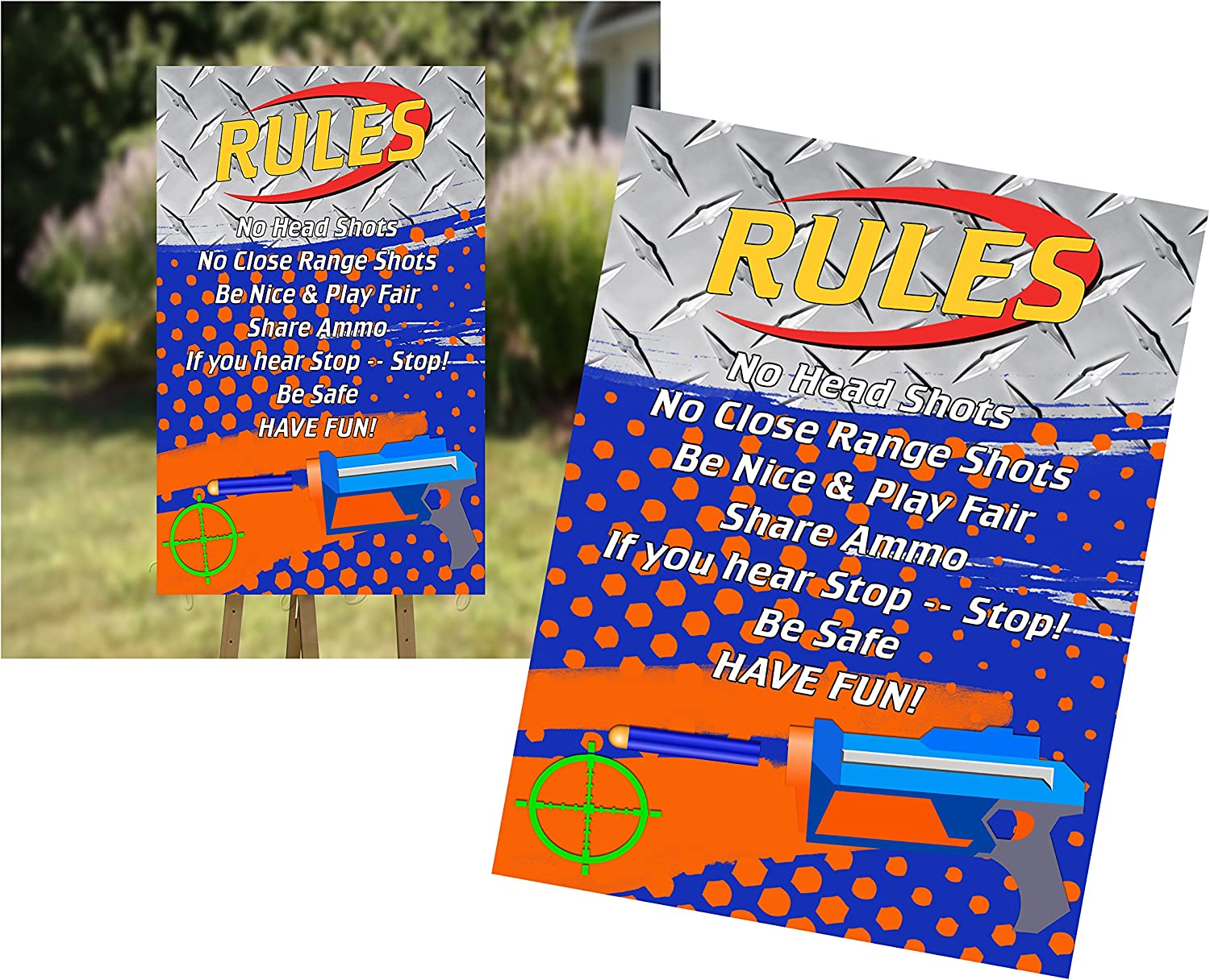 Orange Blue Party Packs Available DART WAR  Party Happy Birthday Baby Shower Favor Tags or Stickers 12 {One Dozen}