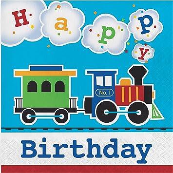 Amazon.com: All Aboard tren cumpleaños Servilletas, 48 ...