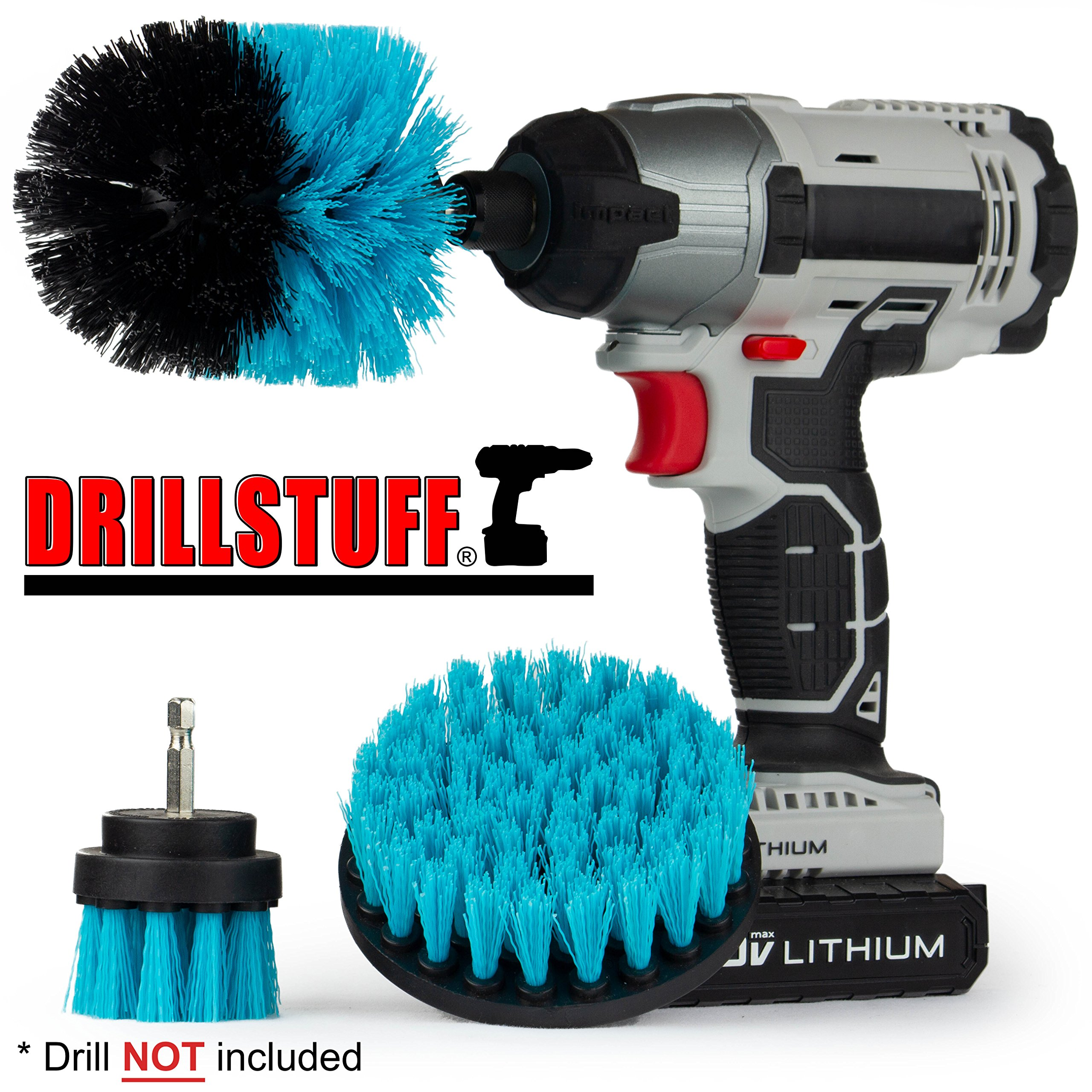 Swimming Pool Accessories - Drill Brush Kit for Liners, Walls, Deck, and Carpet - Clean Slides, Diving Boards, Ladders and Swim Steps – Pool Cover Brush Heads - Spa and Hot Tub Power Scrub Brushes