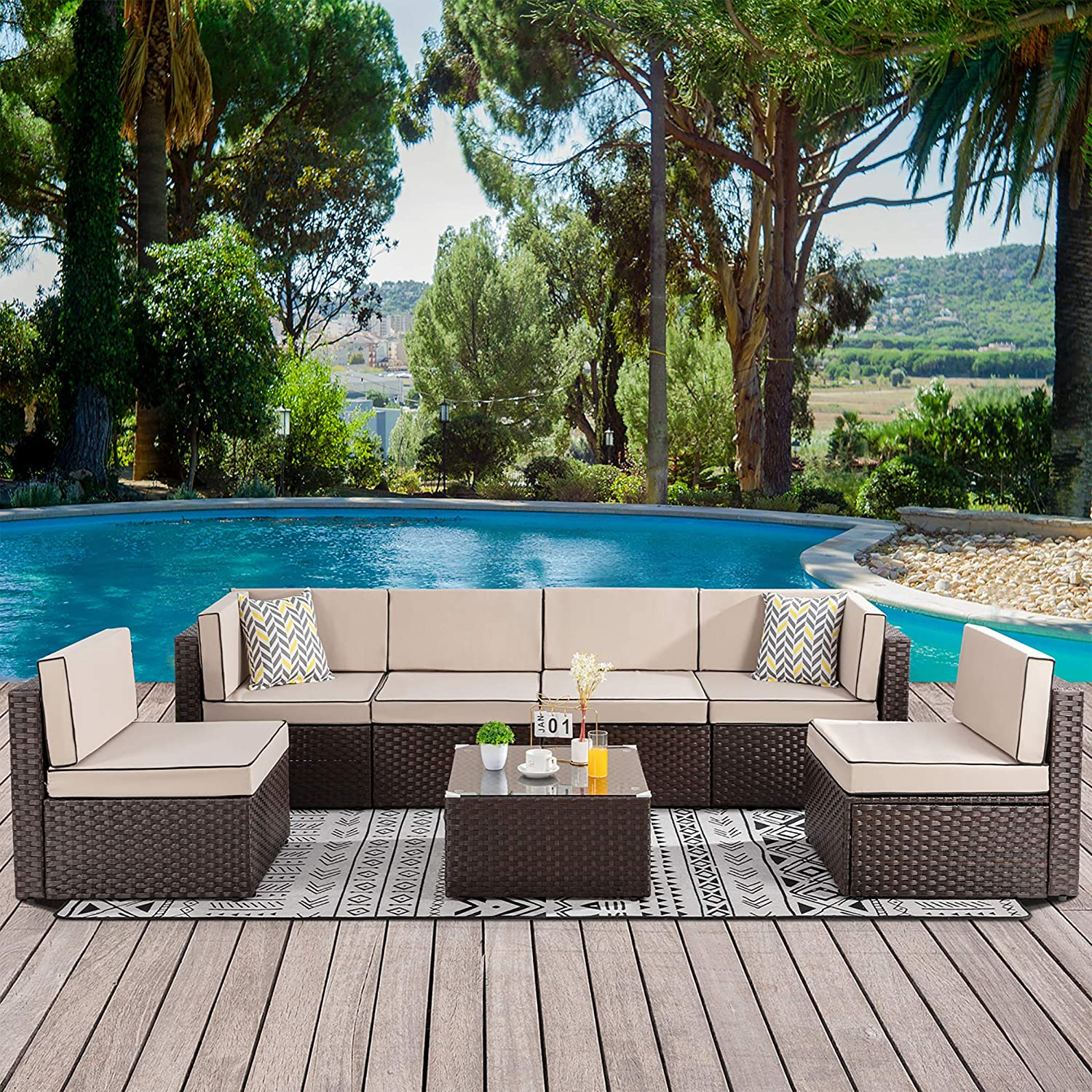 Walsunny 7 pcs Outdoor Brown Rattan Sectional Sofa Patio Wicker Furniture Set Conversation Sets with Tea Table&Washable Couch Cushions (Khaki)