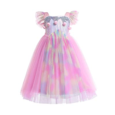 Dressy Daisy Girls Unicorn Dress Up Costumes Birthday Party Pageant Tulle Dress Sequined Rainbow: Clothing