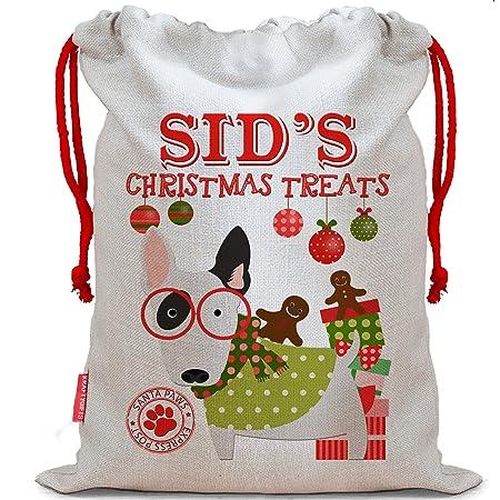 Personalised Dog Santa Sack BULL TERRIER Christmas Present Xmas Stocking CDS61