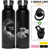 Involve & Evolve Insulated Water Bottle + BPA Free Lid w/Straw + Push-Pull Cap | Double Walled, Vacuum Insulated, Stainless Steel, Eco Friendly, Sweat Proof, Durable Finish 20 oz Thermos by