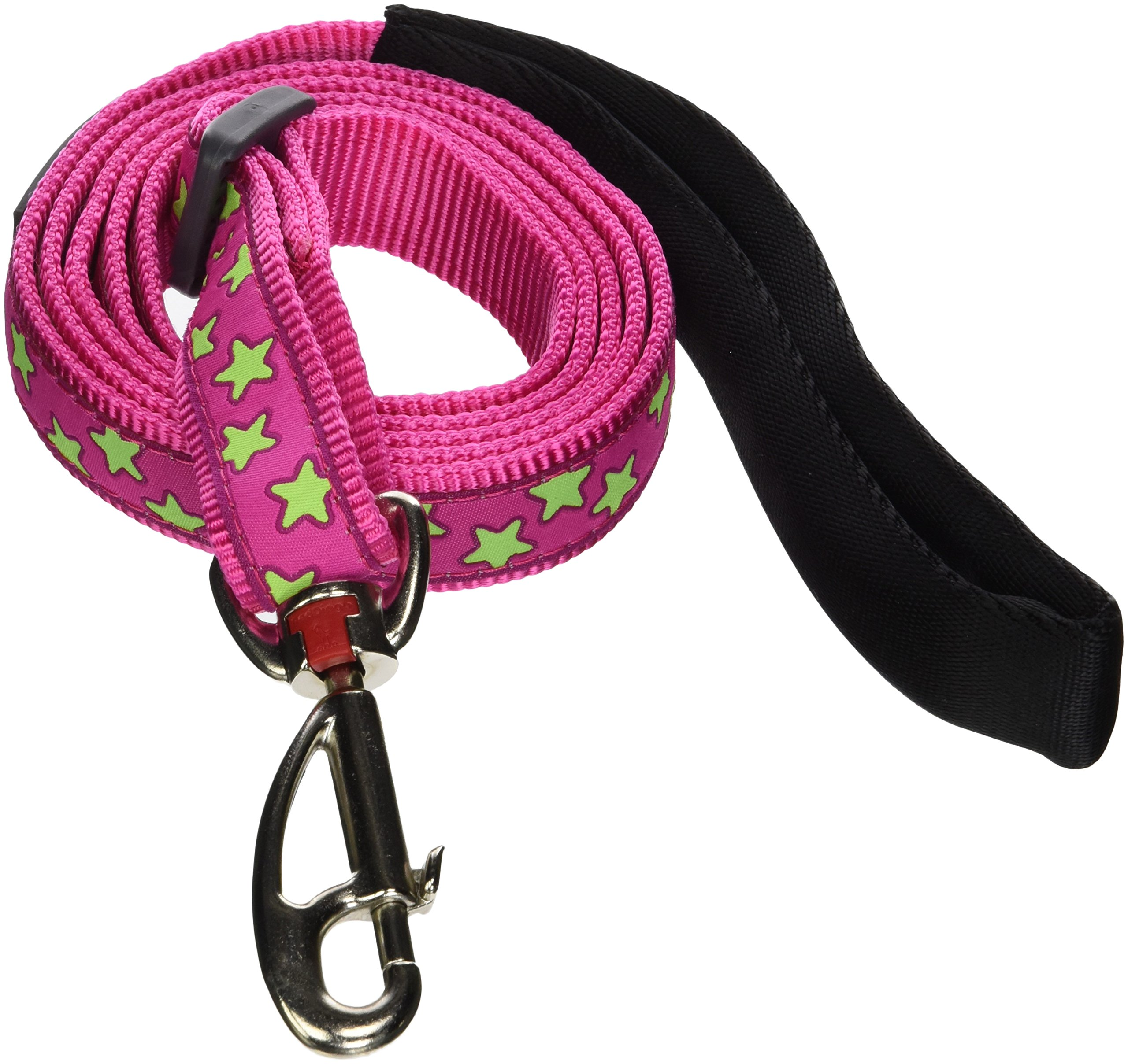 Red Dingo Hot Pink with Lime Green Stars Dog Lead, Large