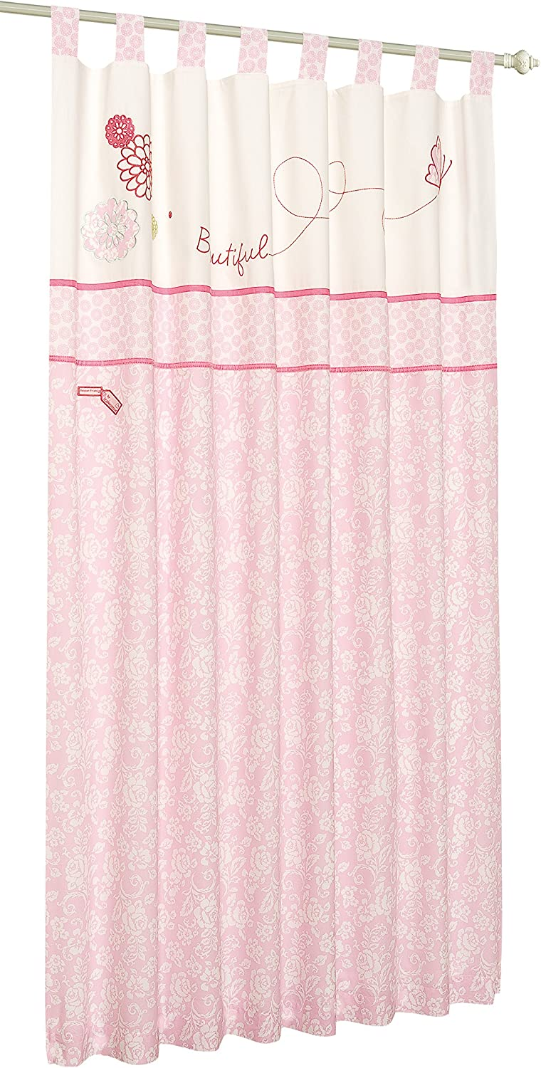 Baby Nursery Forever Friends Pink 100/% Cotton Pair of Tab Top Lined Curtains