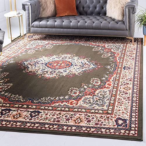 Unique Loom Reza Collection Classic Traditional Green Square Rug 8 0 x 8 0