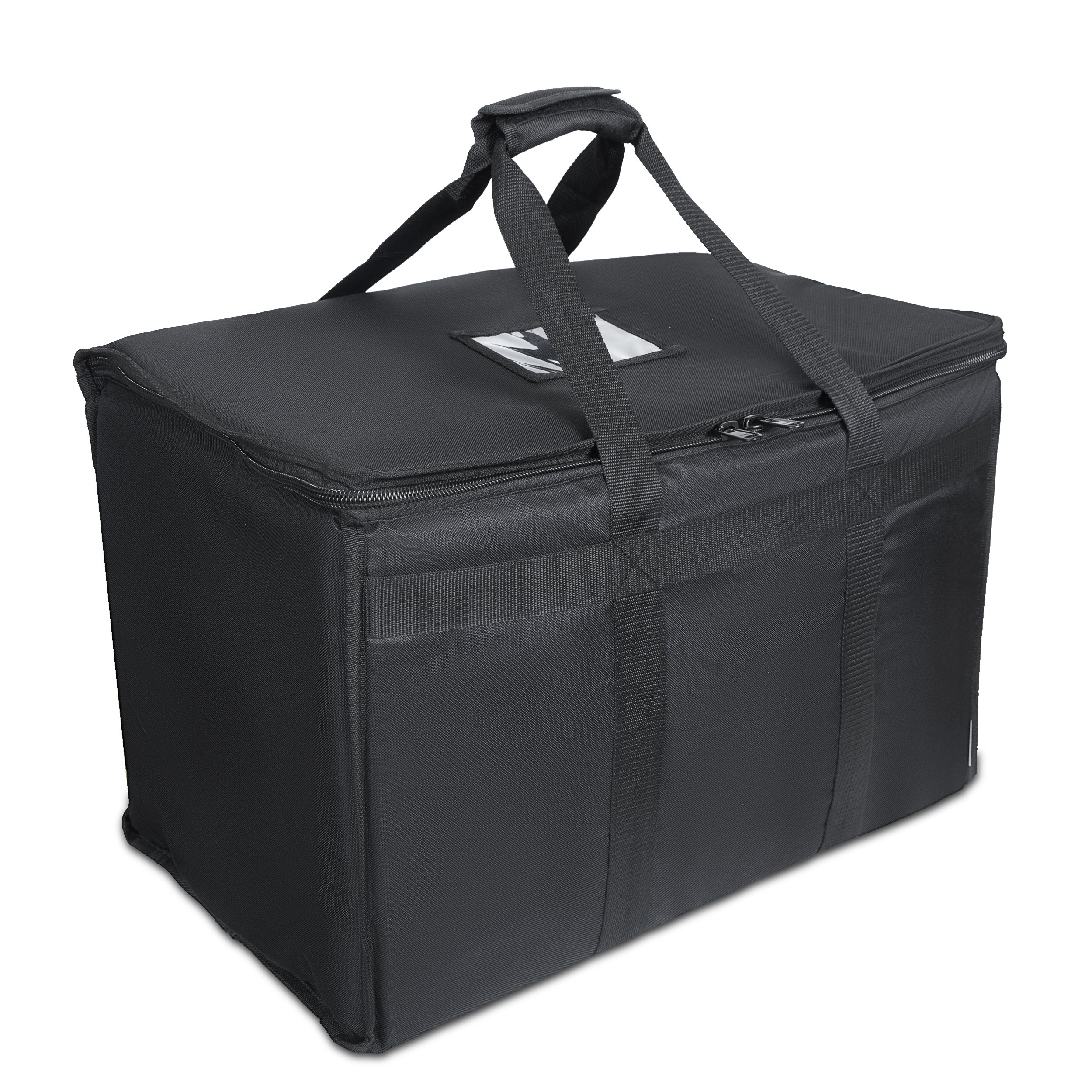 "Food Delivery Bag. Heavy Duty Bag with Strong Insulation. Reinforced Stitching for Heavy Loads. Perfect for Food Delivery & Commercial Transportation. Fit Chafing Trays. Large Capacity (23""x14""x15"")."