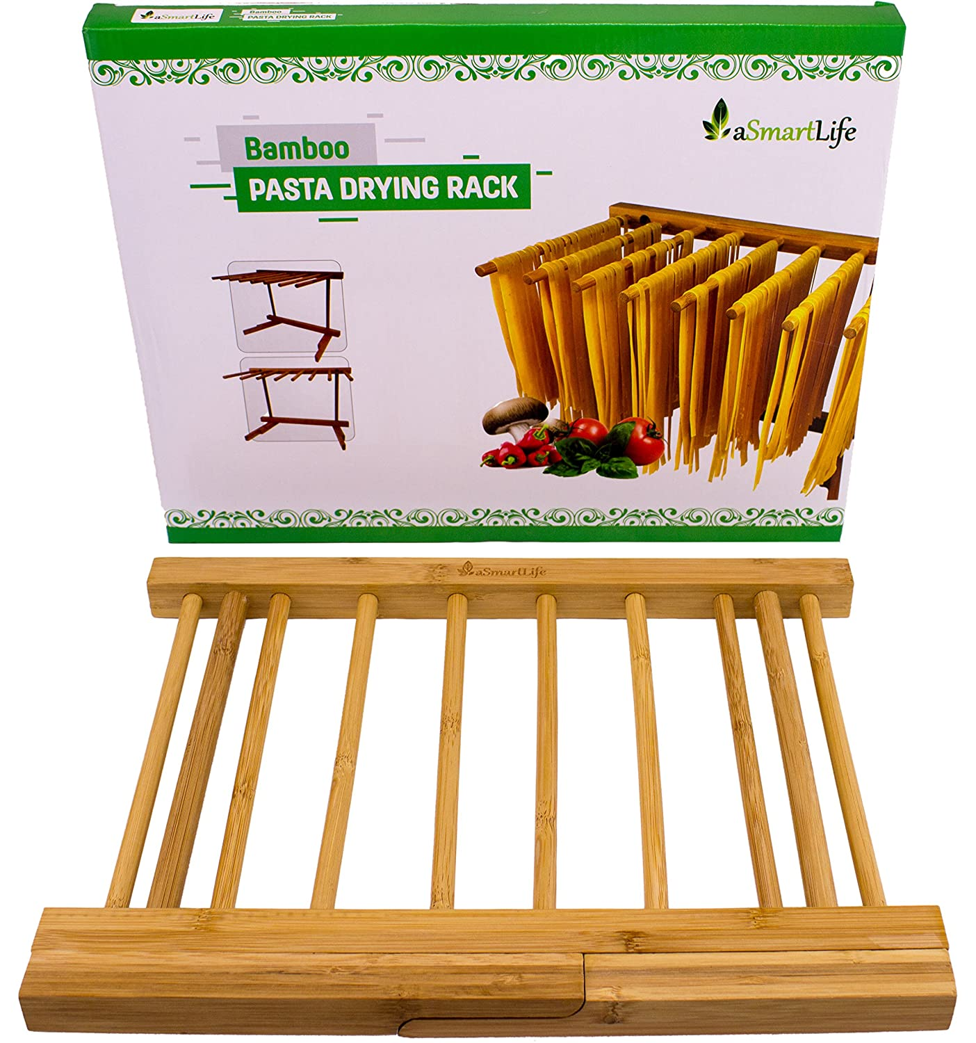 Amazon.com: Bambú Pasta Rack de secado plegable por ...
