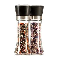 MyGreenWarehouse Gewürzmühlen 2er Set - Hochwertige Salz- & Pfeffermühlen mit stufenlos verstellbarem Keramikmahlwerk