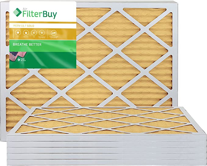 Gold Pack of 2 Filters FilterBuy 8x16x1 MERV 11 Pleated AC Furnace Air Filter, 8x16x1