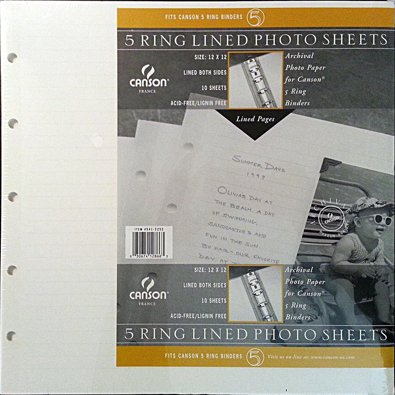 5 RING liniert Scrapbook Seiten weiß 30,5 x 30,5 cm 10 pg Refill Canson