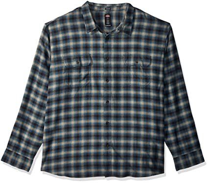 cd5e7f1a4ef Amazon.com  Dickies Men s Long Sleeve Relaxed Fit Flannel Shirt Big ...