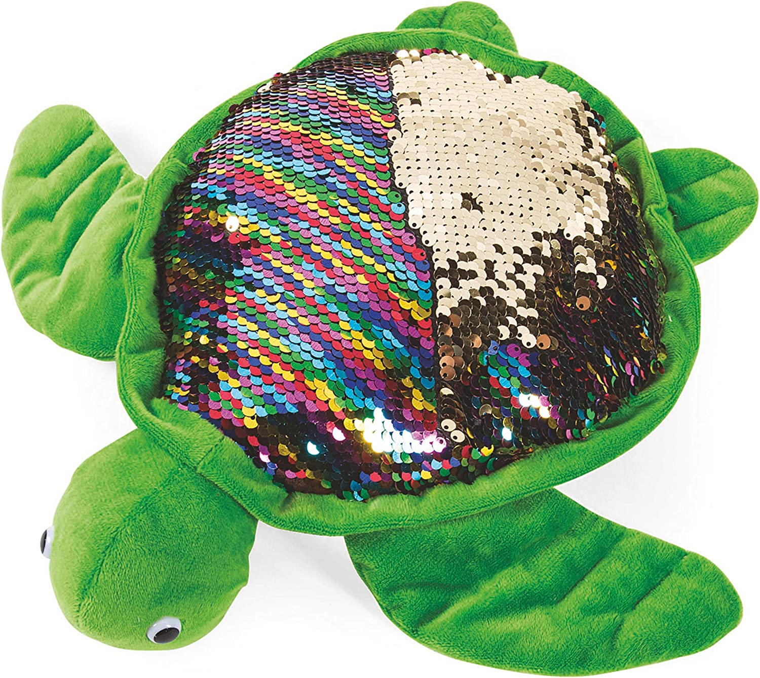 "LMC Products 11"" Turtle Stuffed Animal with Reversible Flipping Sequins - Cute Plush Sea Turtle"