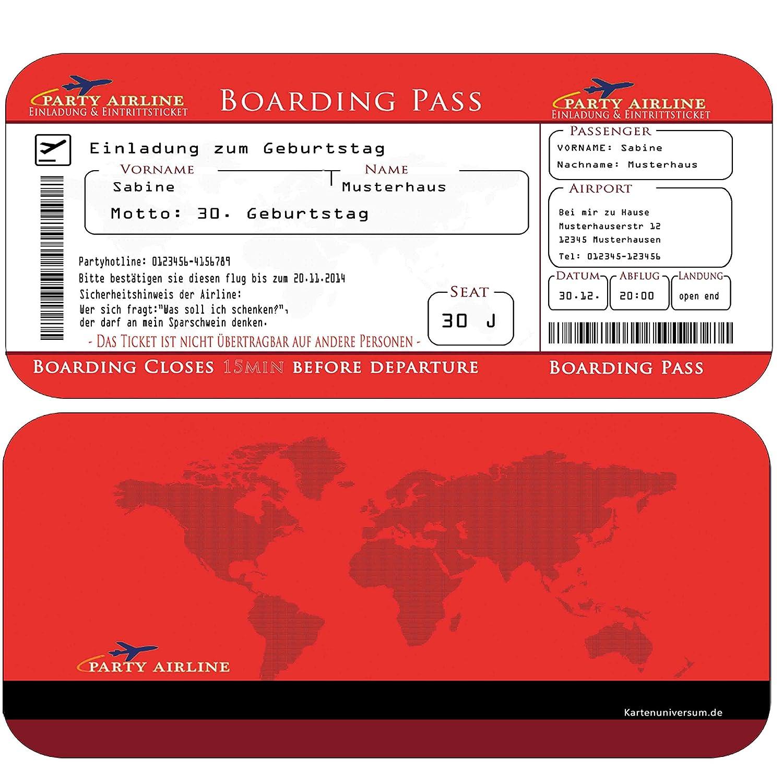 Einladungskarten Geburtstag als Flugticket ( Ihren Daten und Texten) in Rot Geburtstagseinladungen 20 30 40 50 60 70 Einladung) B00NTSWGKW | Exquisite (mittlere) Verarbeitung