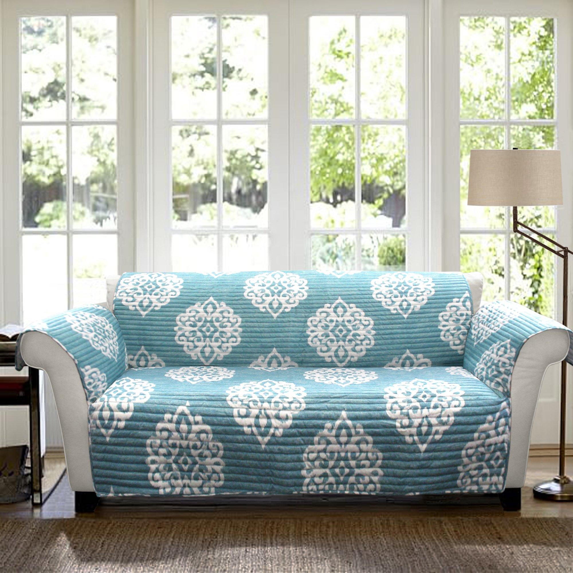 Lush Decor Sohpie Slipcover/Furniture Protector for Sofa, Blue