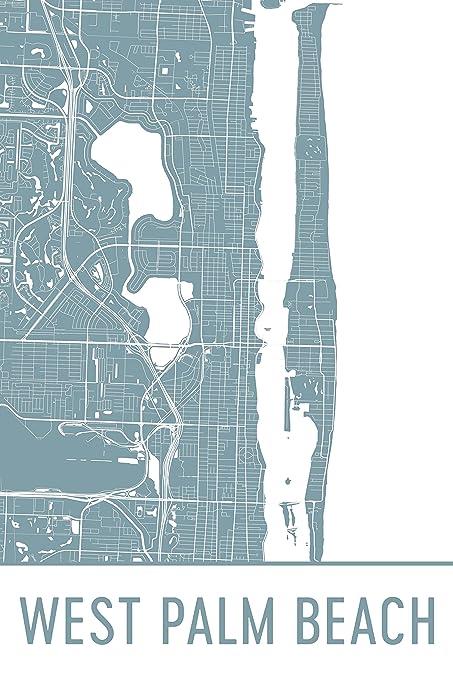 Map Of Palm Beach Florida.Amazon Com West Palm Beach Print West Palm Beach Art West Palm